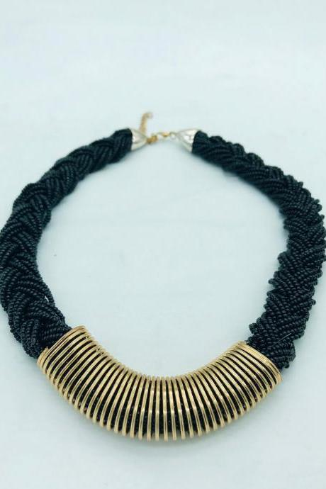 African Black & Gold Necklace